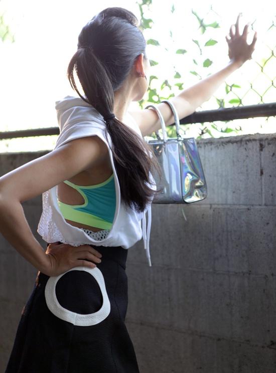hm circle skirt forever 21 strappy sports bra