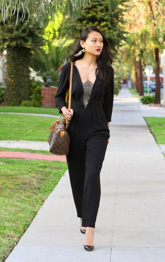 trina turk alaine jumpsuit black lace