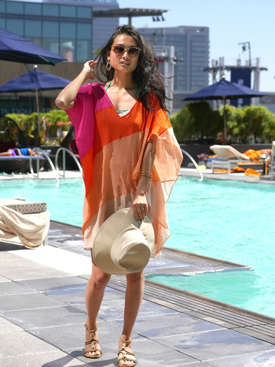 trina turk dress swimsuit jw marriott pool  downtown la los angeles