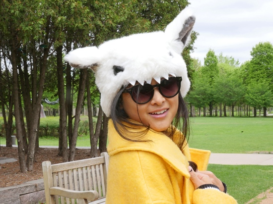 Elope yeti costume hat toms bellevue sunglasses