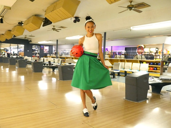 retro inspired bowling outfit midi skirt american apparel sleeveless crop top