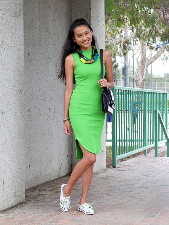 hm green ribbed dress bodycon keds partyskirts champion ants shoes