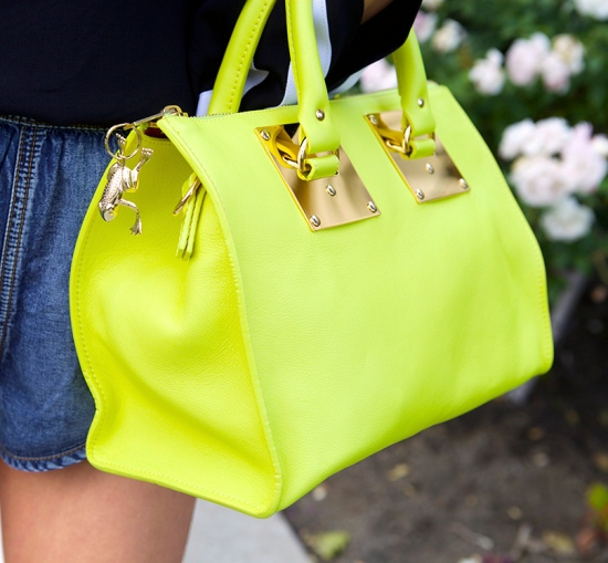 sophie hulme mini zip top bowling bag chartreuse with frog keychain