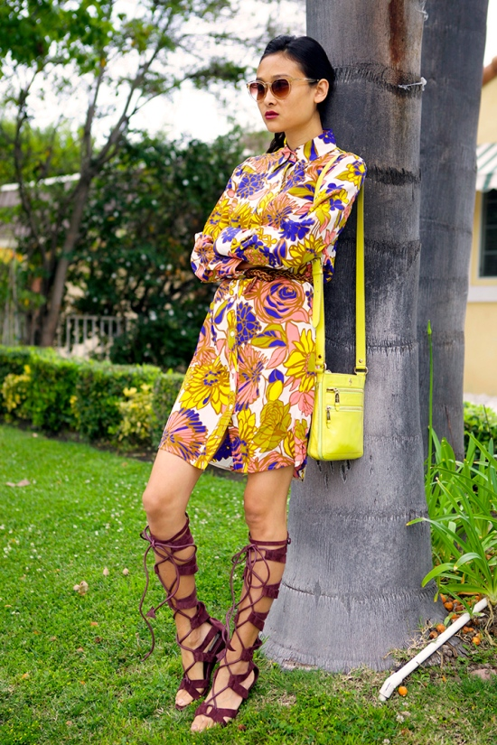 trina turk floral silk vintage shirt dress gladiator sandals