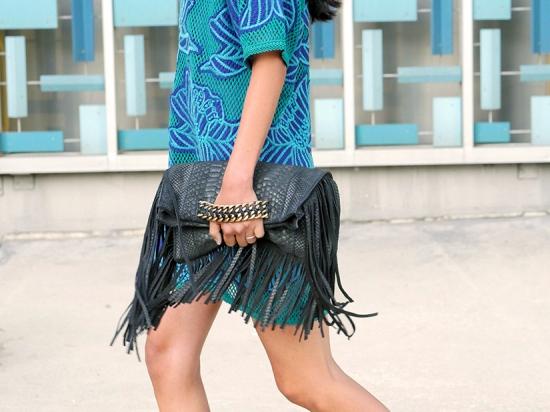 ramy brook stevie fringe bag clutch crocheted dress
