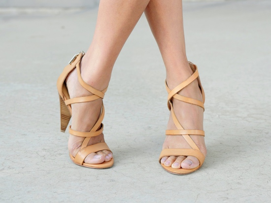 rebecca minkoff strappy tan leather sandals