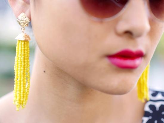 aqua bloomingdales beaded tassel earrings