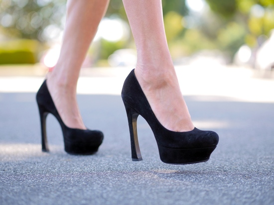 ysl yves saint laurent black suede platform pumps