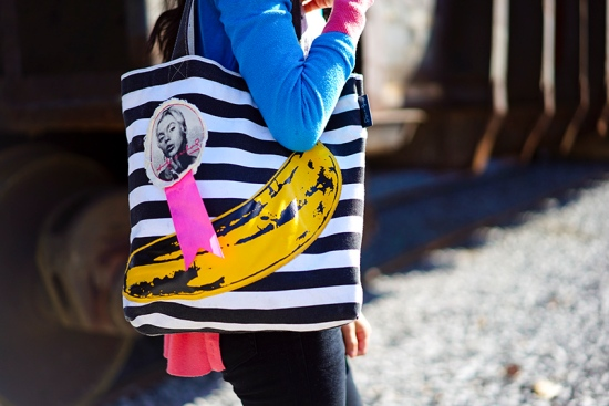 loop nyc canvas tote andy warhol banana