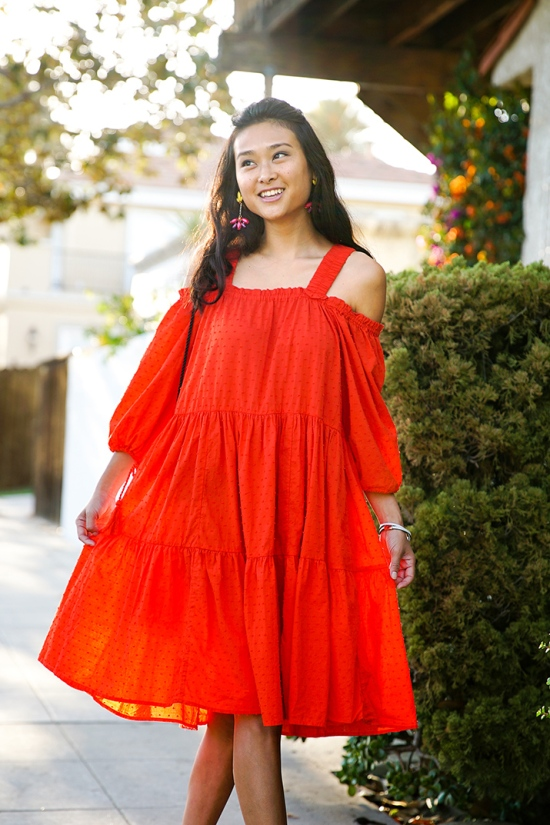 hm red orange off shoulder dress