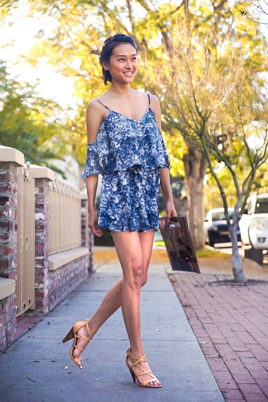 the fifth daylight playsuit in fields of blue print catching couture b
