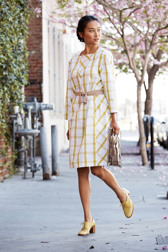 catching couture trademark wright dress citronelle plaid mustard paul smith shoes
