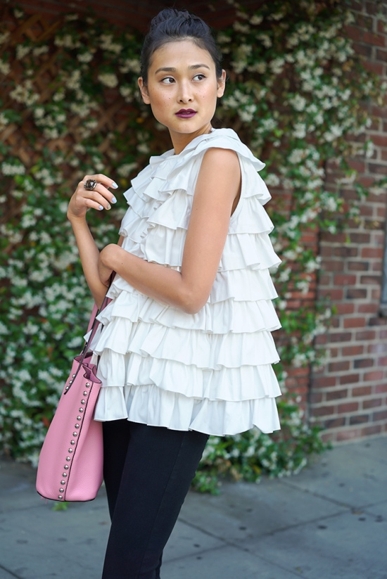 co canvas ruffle top
