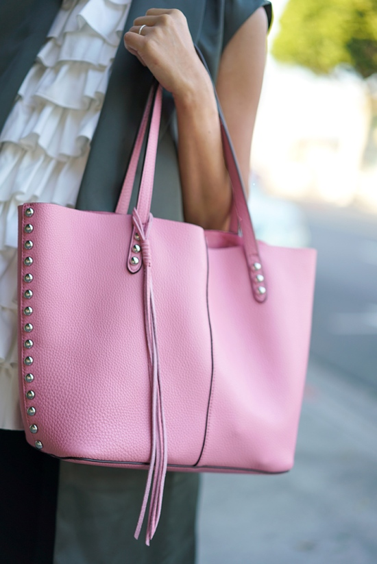rebecca minkoff unlined tote with studs guava