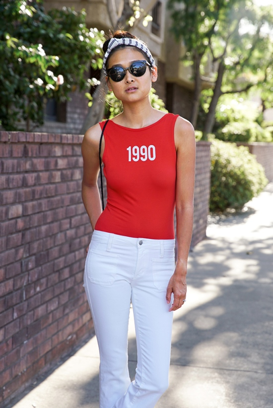 red 1990 bodysuit white flare joes jeans
