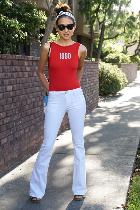 zara red message bodysuit 1990 white flare jeans
