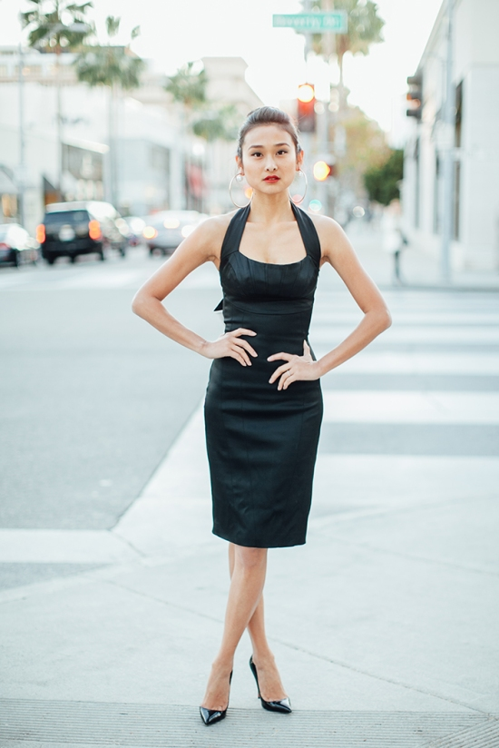 Michelle Forstadt catching couture catherine malandrino halter dress