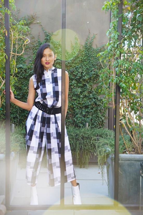 michelle forstadt catching couture asos white gingham jumpsuit