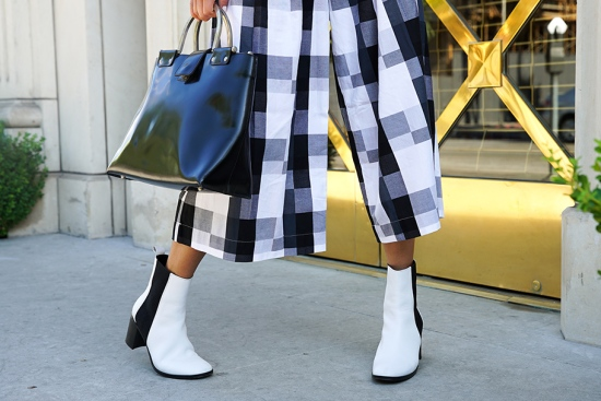zara white ankle boots plaid gingham pants