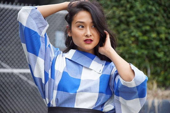 michelle-forstadt-catching-couture-zara-oversized-checked-top
